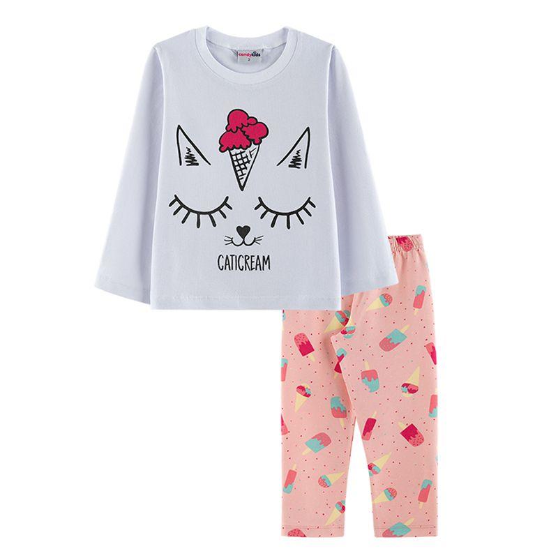 Conjunto Caticream Blusa + Calça Legging Infantil Menina Candy Kids Branco