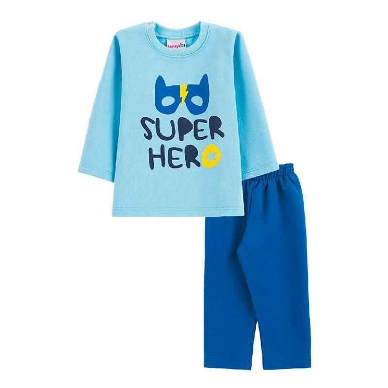Conjunto Super Hero Casaco + Calça Bebê Menino Candy Kids Celeste
