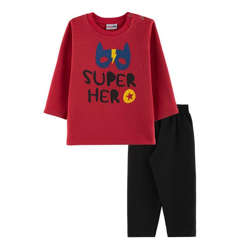 Conjunto Super Hero Casaco + Calça Bebê Menino Candy Kids Vermelho