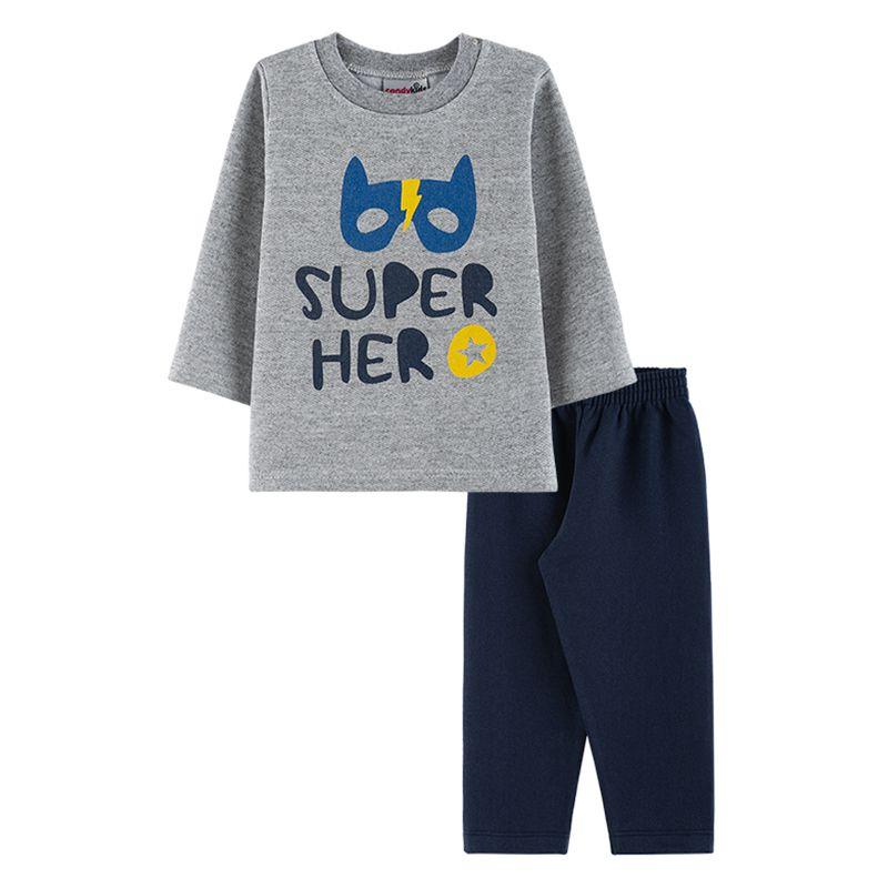 Conjunto Super Hero Casaco + Calça Bebê Menino Candy Kids Mescla