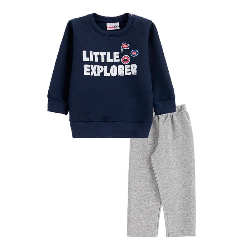 Conjunto Little Explorer Casaco + Calça Bebê Menino Candy Kids Marinho