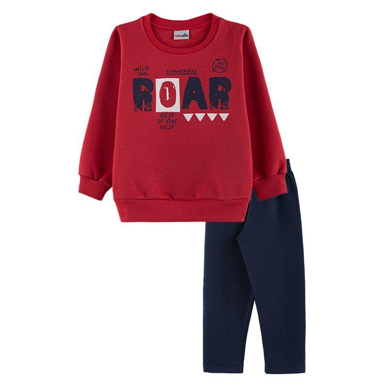 Conjunto Roar Casaco + Calça Infantil Menino  Candy Kids Vermelho