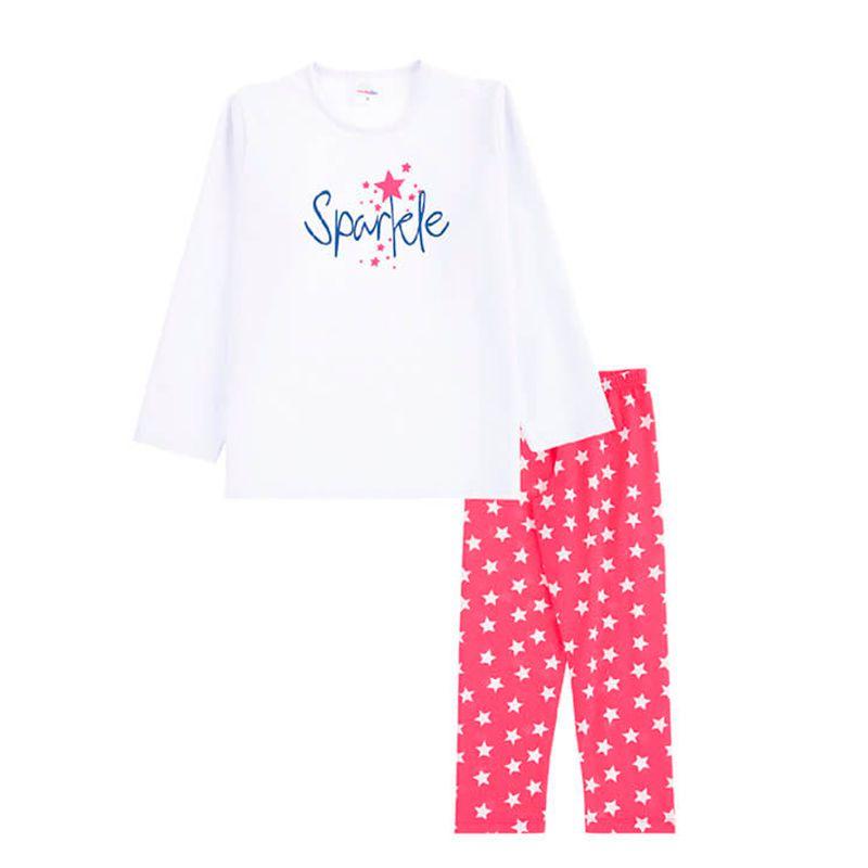Pijama Sparkle Infantil Menina Candy Kids Branco