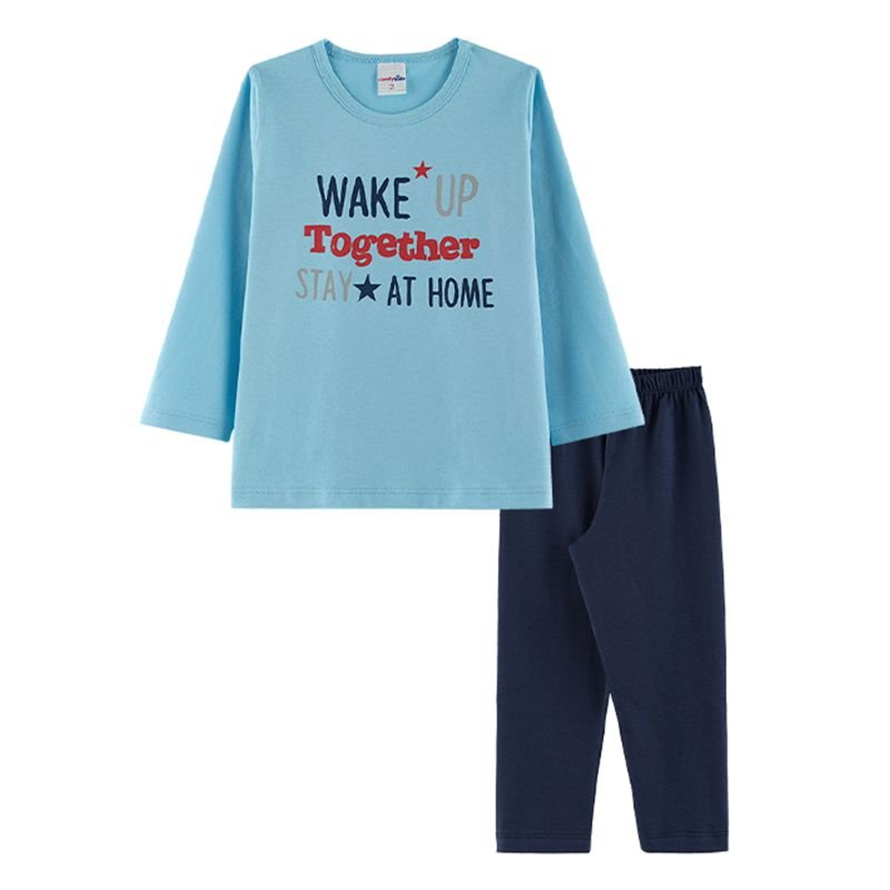 Pijama Wake Up Infantil Menino Candy Kids Celeste