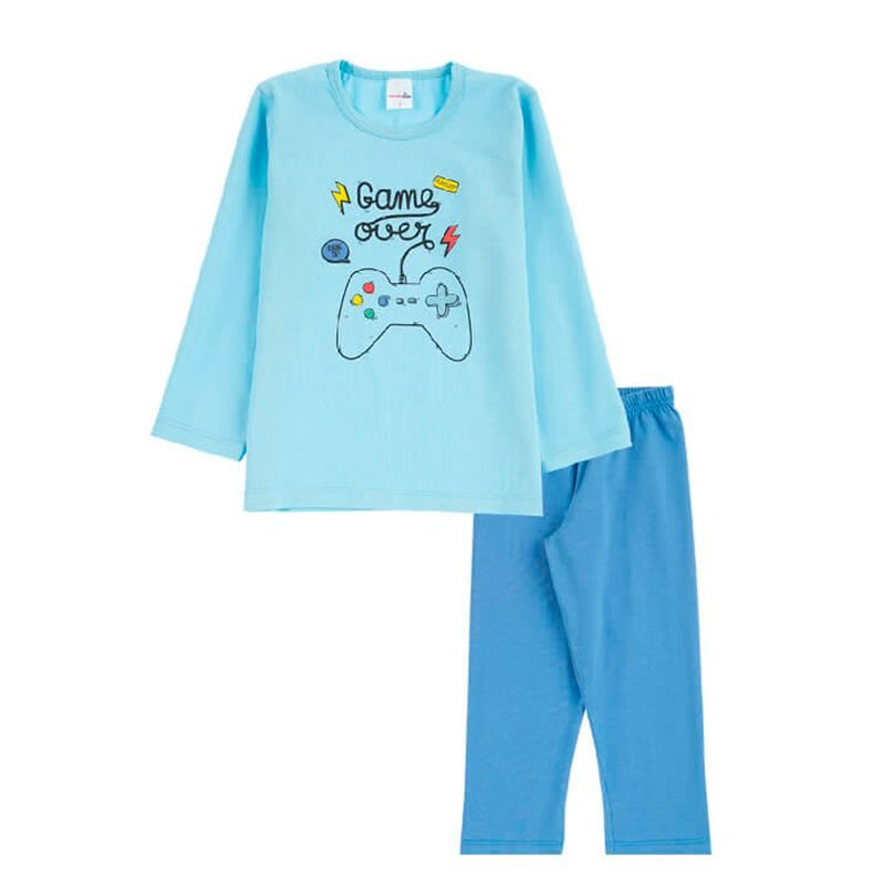 Pijama Game Over Infantil Menino Candy Kids Celeste