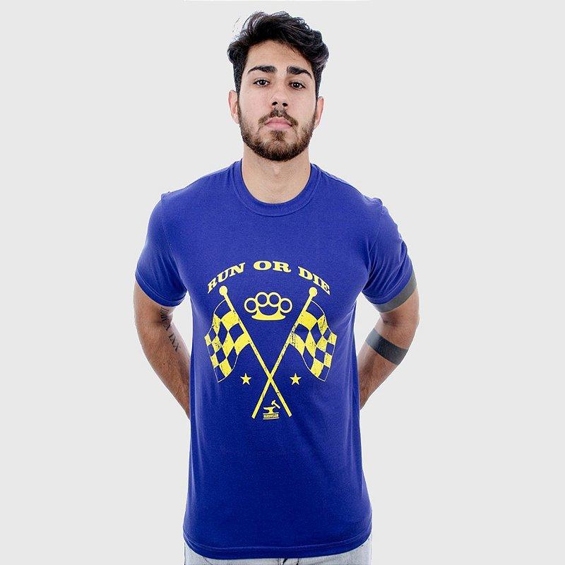 Camiseta Masculina Azul Manga Curta Ride Hardivision