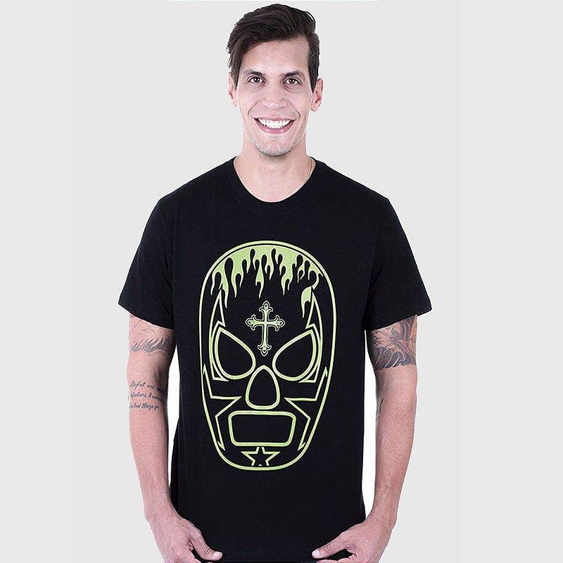 Camiseta Masculina Preta Manga Curta Lucha Libre Hardivision
