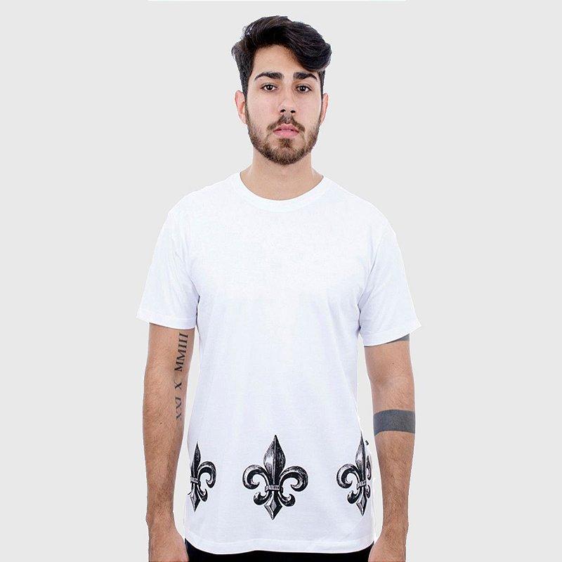 Camiseta Masculina Branca Flor de Lis Hardivision
