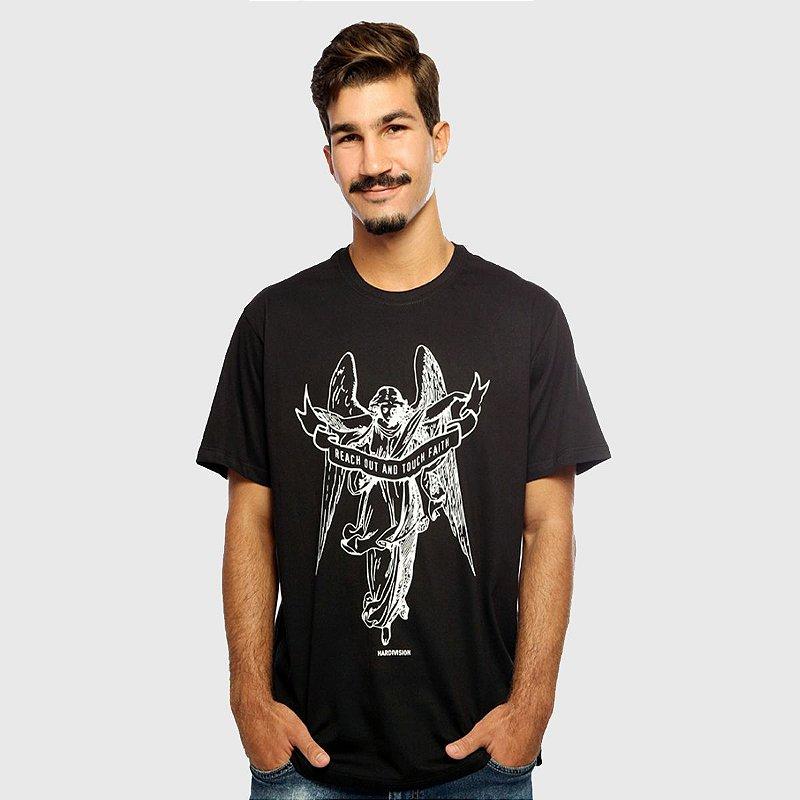 Camiseta Masculina Preta Manga Curta Anjo Hardivision
