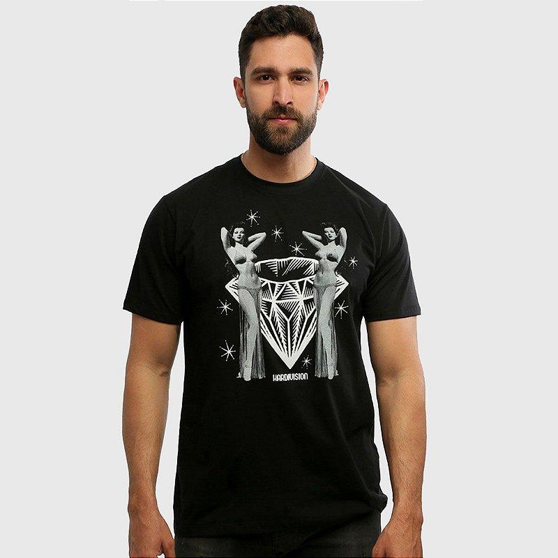 Camiseta Masculina Preta Manga Curta Burlesque Hardivision