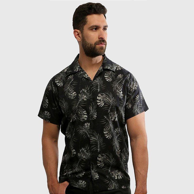 Camisa de Botão Manga Curta Estampada Dark Forest Hardivision