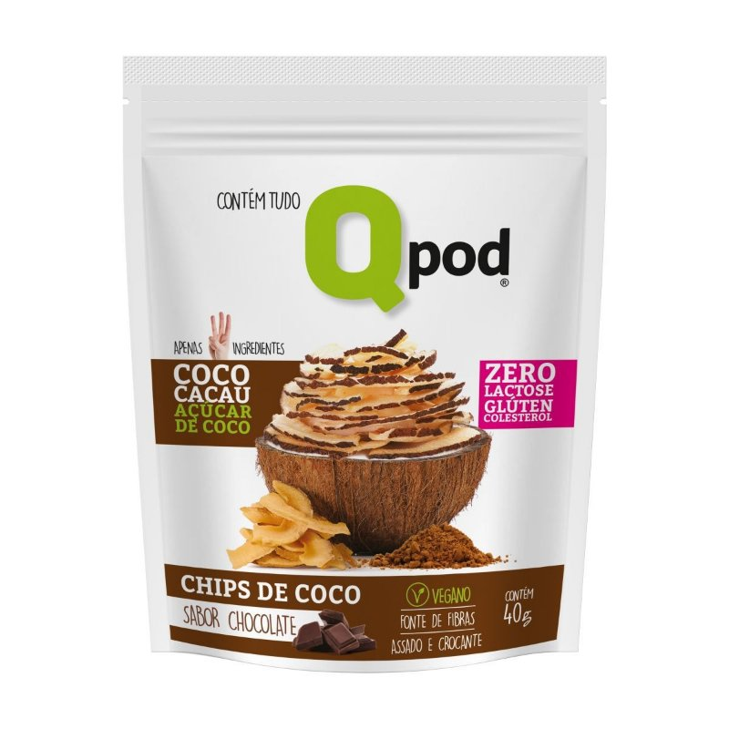 Chips de Coco assado – Sabor Chocolate – Qpod – 40g