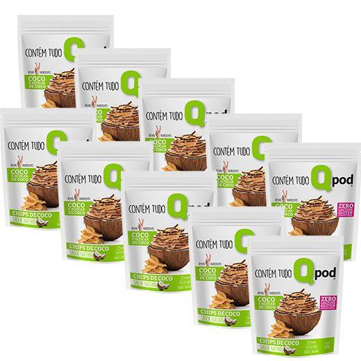 10 Chips de coco assado - Sabor Natural - QPod