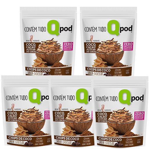 Combo 5 unidades - Chips de Coco assado – Sabor Chocolate