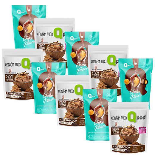 Combo 5 unidades Chocopeace + 5 unidades Chips de Coco assado – Sabor Chocolate