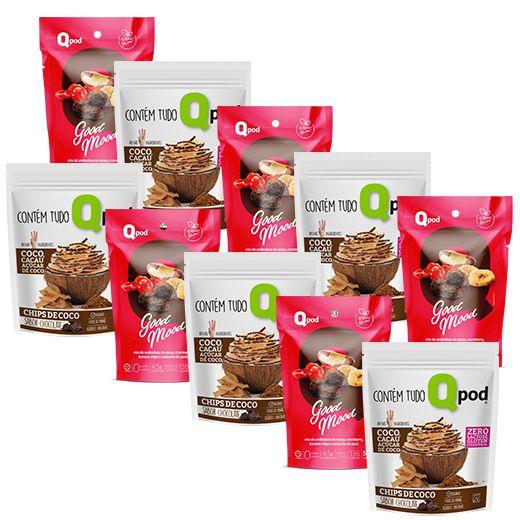 Combo 5 unidades GOOD MOOD + 5 unidades Chips de Coco assado – Sabor Chocolate