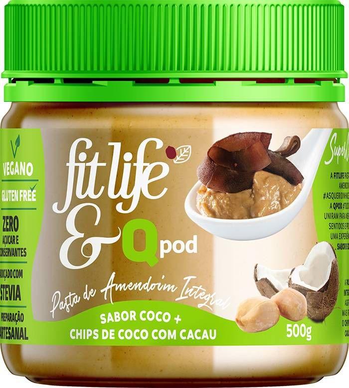 Pasta de Amendoim sabor coco com chips de coco com cacau