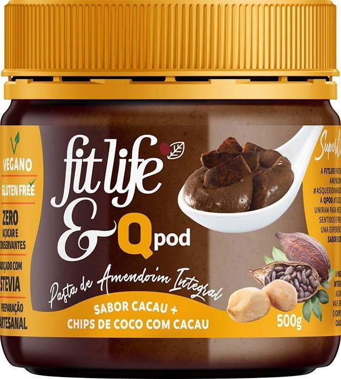 Pasta de Amendoim com Cacau e Chips de Coco QPod Fit Life