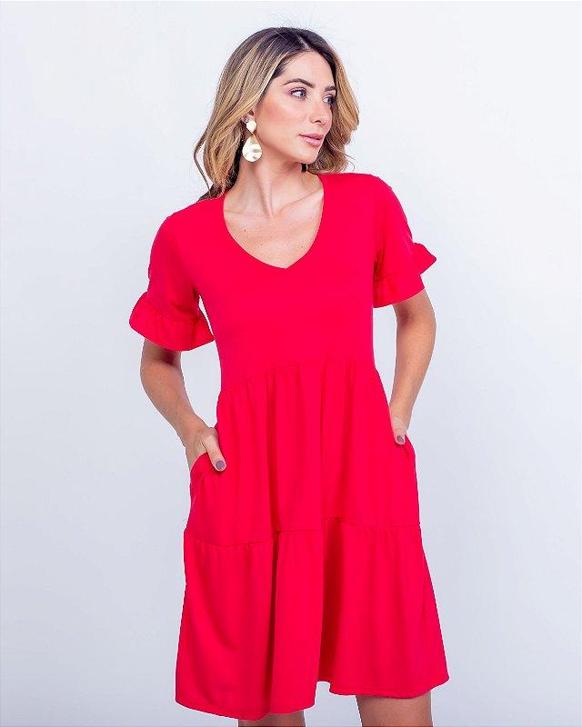 Vestido Malha gola v Nani curto vermelho c/ bolso