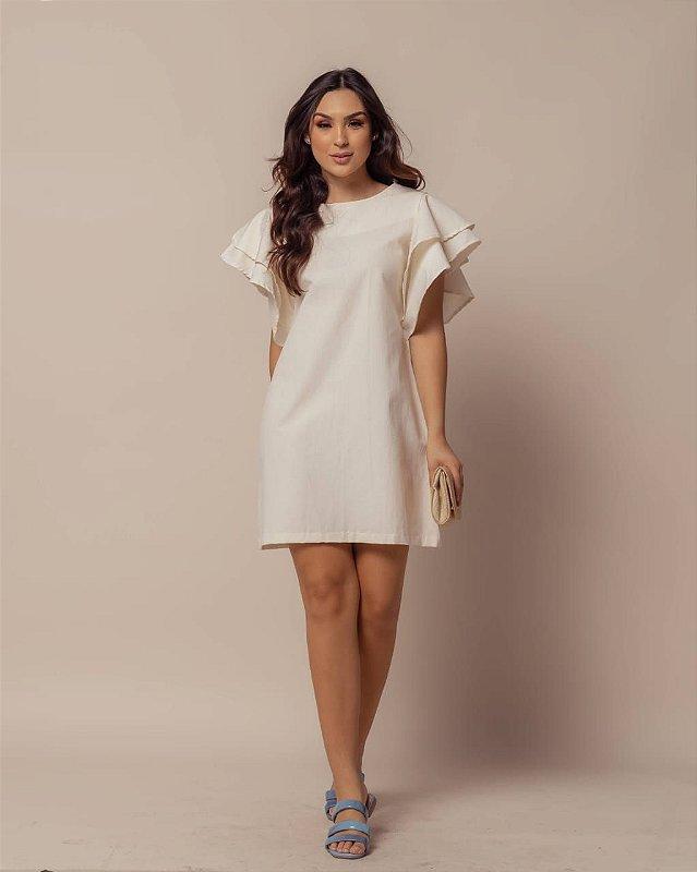 Vestido Chiara Manga Babado OFF