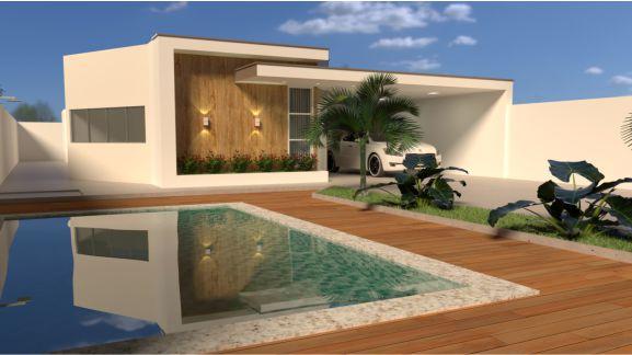 Casa térrea com piscina terreno 12x30