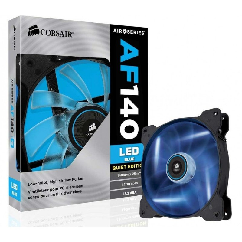 COOLER FAN 140MM CORSAIR AF140 CO-9050017-BLED LED AZUL QUIET EDITION NOVO