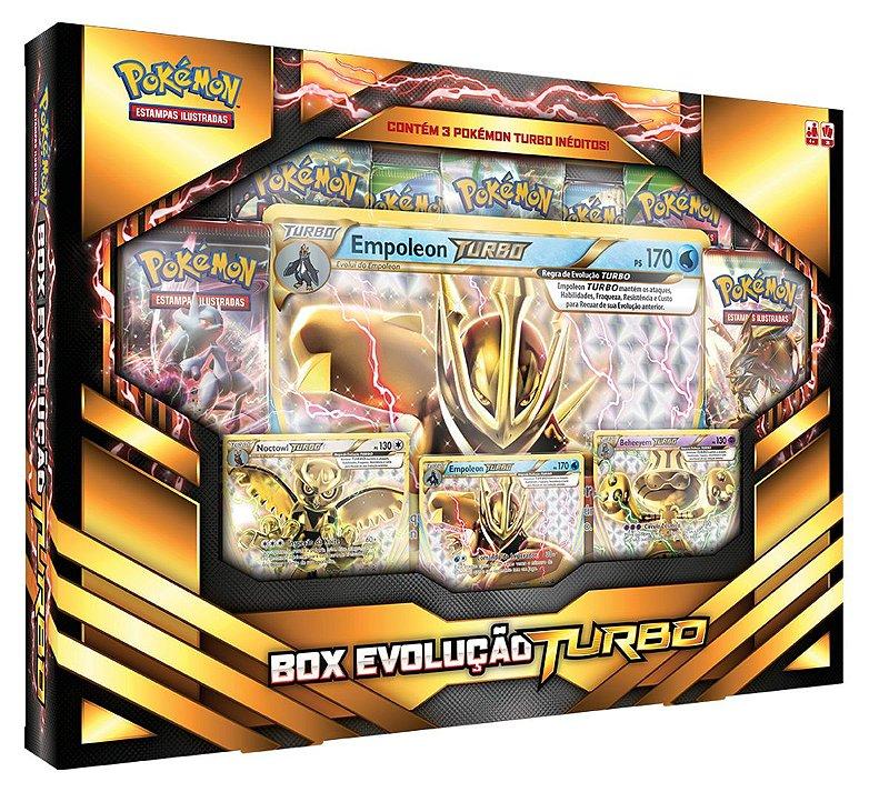 POKÉMON BOX EVOLUÇÃO TURBO 3 CARTAS RARAS 1 EXTRAGRANDE 7 BOOSTER