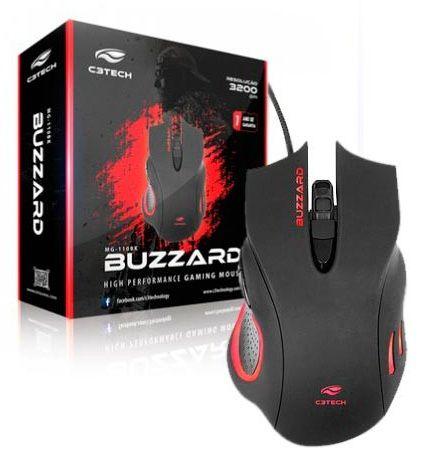 MOUSE GAMER USB C3TECH BUZZARD MG-110BK 3200 DPI 6 BOTÕES LED MULTICOLORIDO