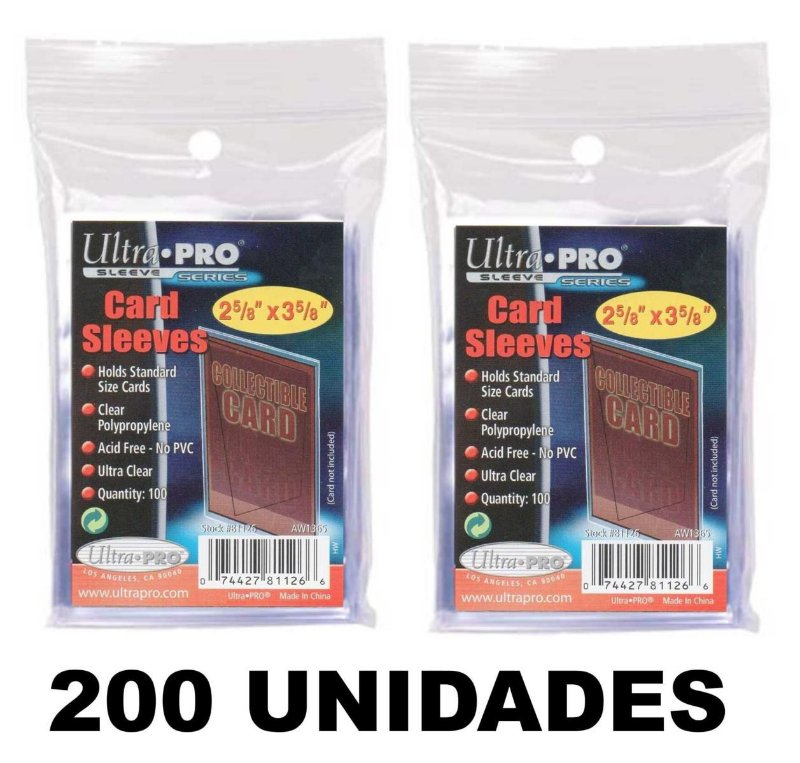 200 SLEEVES SHIELDS PROTETOR P/ CARTAS ULTRA PRO P/ POKEMON E MAGIC TRANSPARENTE