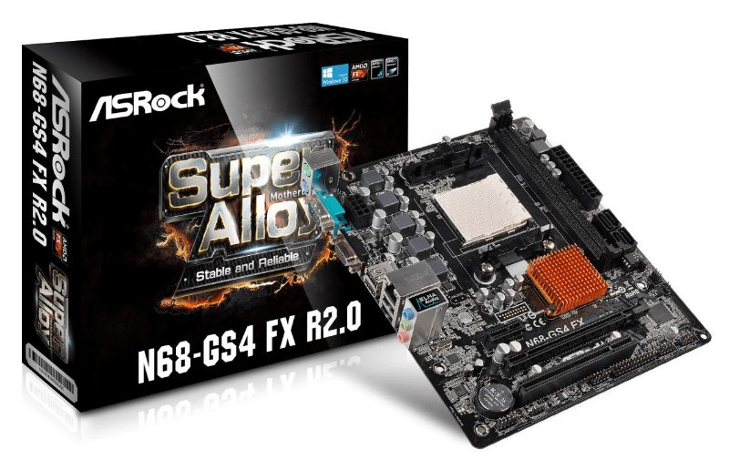 PLACA MÃE AM3+ AM3 ASROCK N68-GS4 FX R2.0 DDR3 VGA MICRO ATX WINDOWS 10