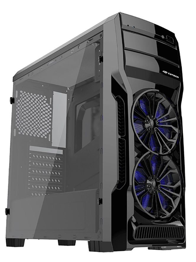 GABINETE GAMER C3TECH MT-G650BK 2 COOLER LED AZUL FULL ACRÍLICO USB 3.0 SSD