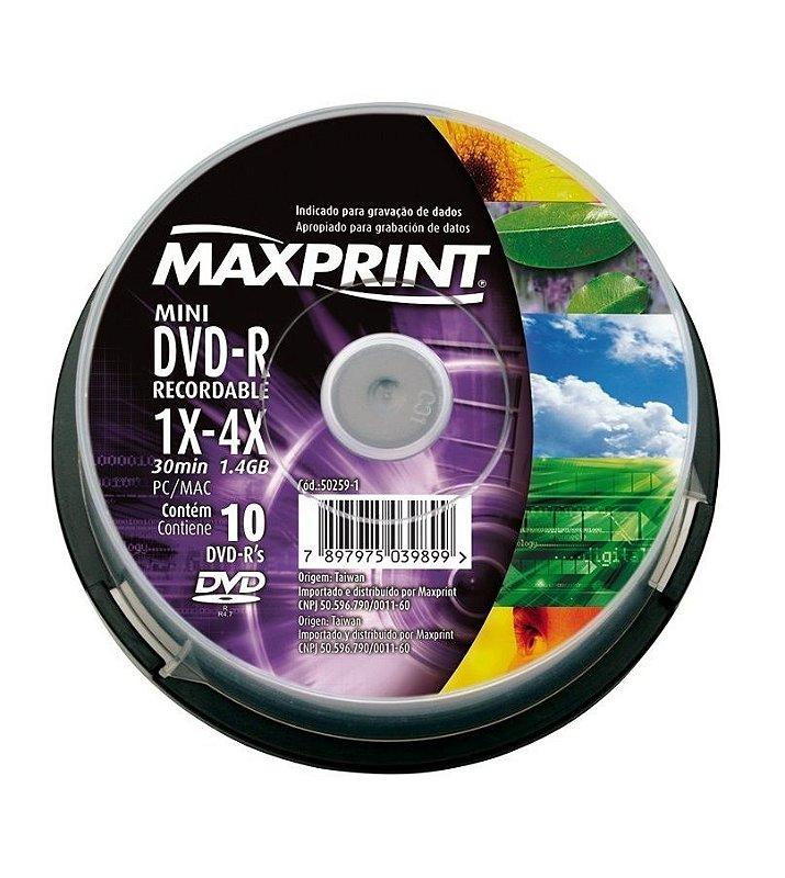 MINI DVD-R MAXPRINT 50259-1 1.4GB 30 MIN 1X-4X PC/MAC 10 UNIDADES