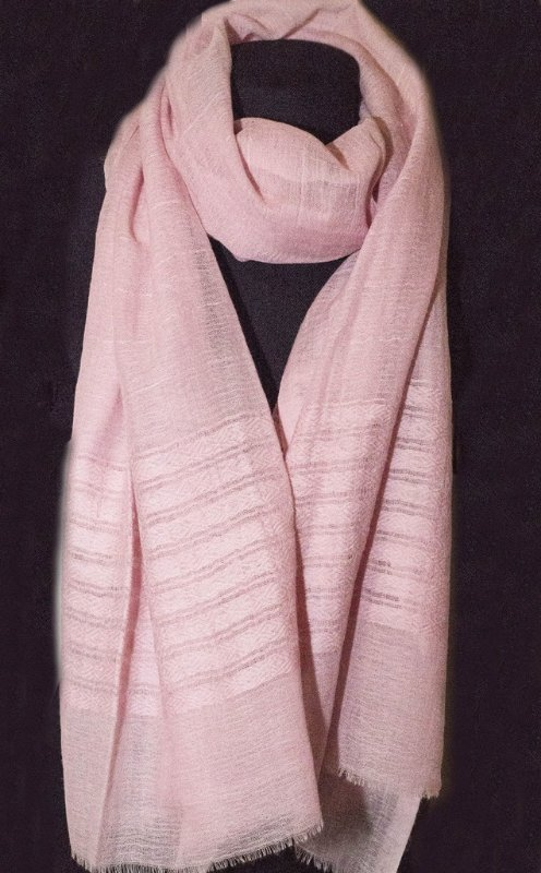 Pashmina Lã Kashmira barra bordada rosa bebê