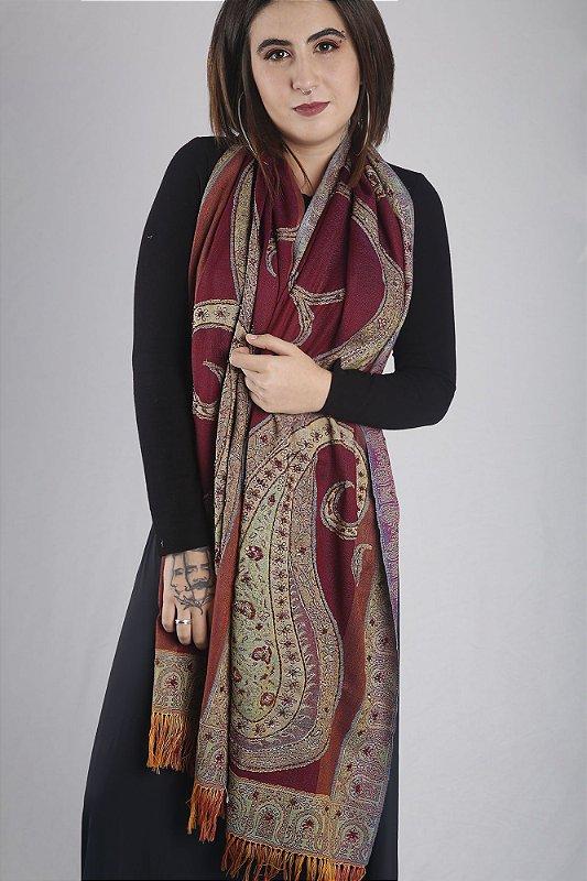 Pashmina bordada paisley lã da Kashmira