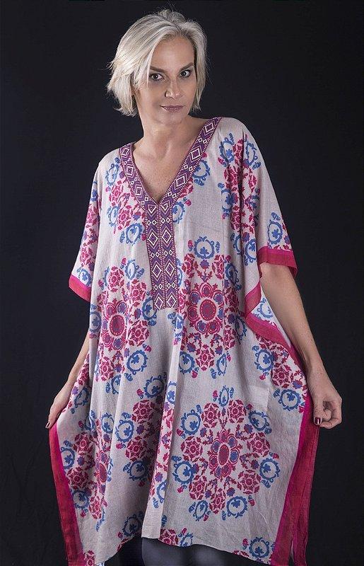 Bata túnica estampada floral plus size- promoção verão plus size