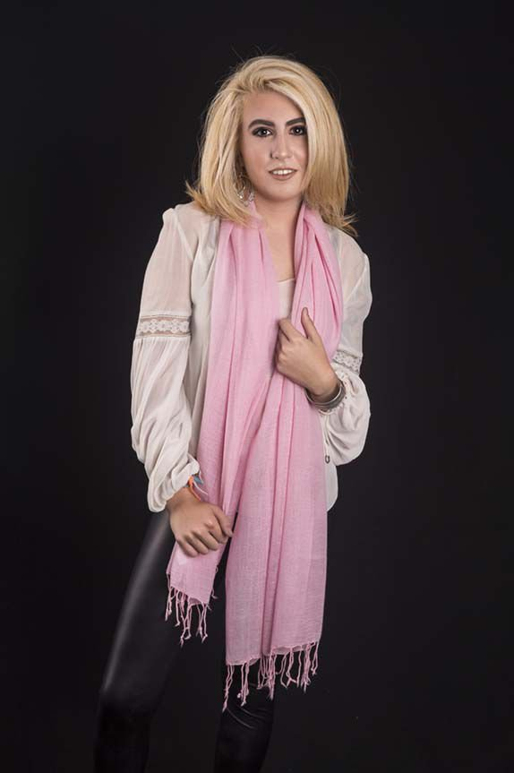 Pashmina lã da kashmira rosa