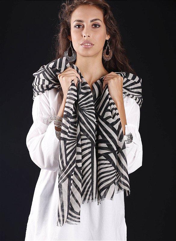 Pashmina lã da Kashmira geométrica black and white - Atacado lote mínimo de 6 peças