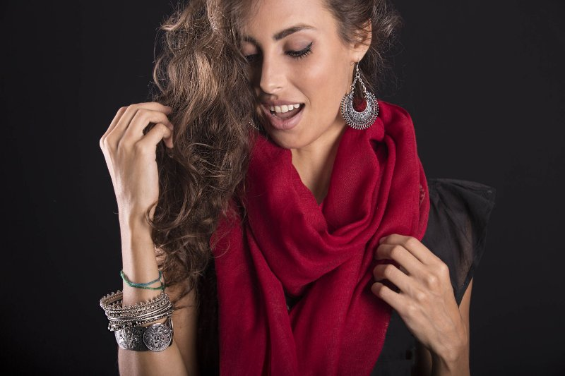 Pashmina vermelha lã da Kashmira- lote mínimo de 5 peças