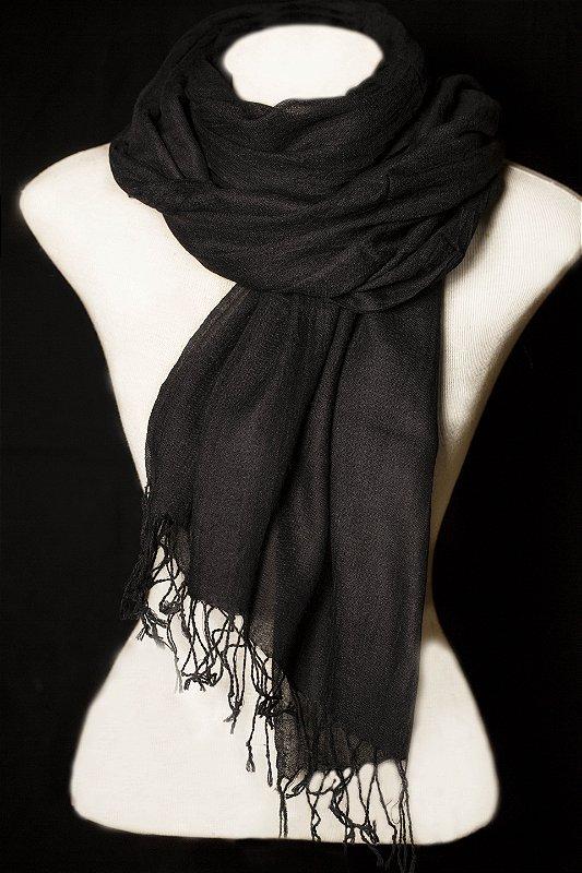 Pashmina preta de lã da Kashmira- lote mínimo 6 peças