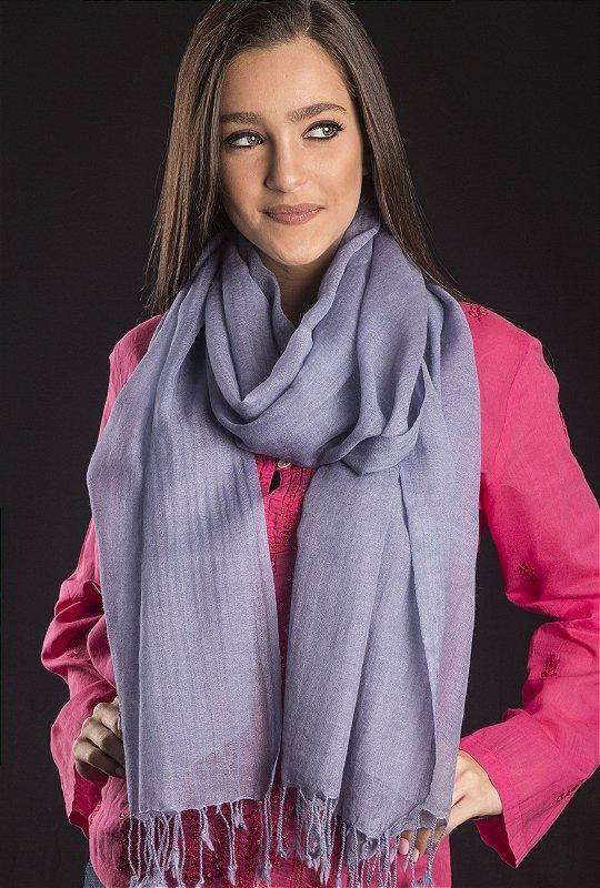 Pashmina lã da Kashmira azul hortência