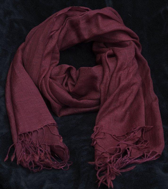 Pashmina vinho burgundi 100% lã da Kashmira- lote mínimo 5 peças