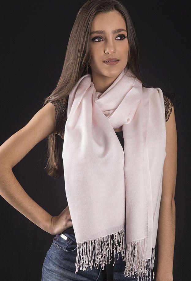 Pashmina lã da kashmira com seda rosa bebê clarinho millennial pink
