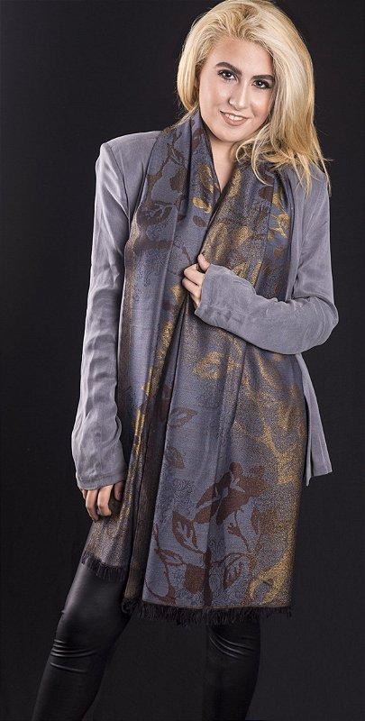 Pashmina lã com seda brocada chumbo com dourado