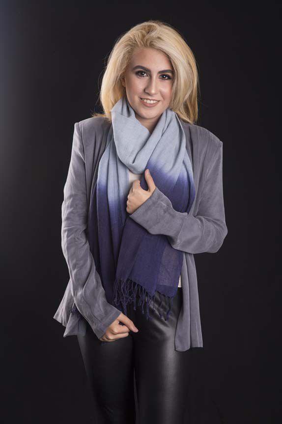 Pashmina de lã da Kashmira Tie Dye azul celeste com azul bic