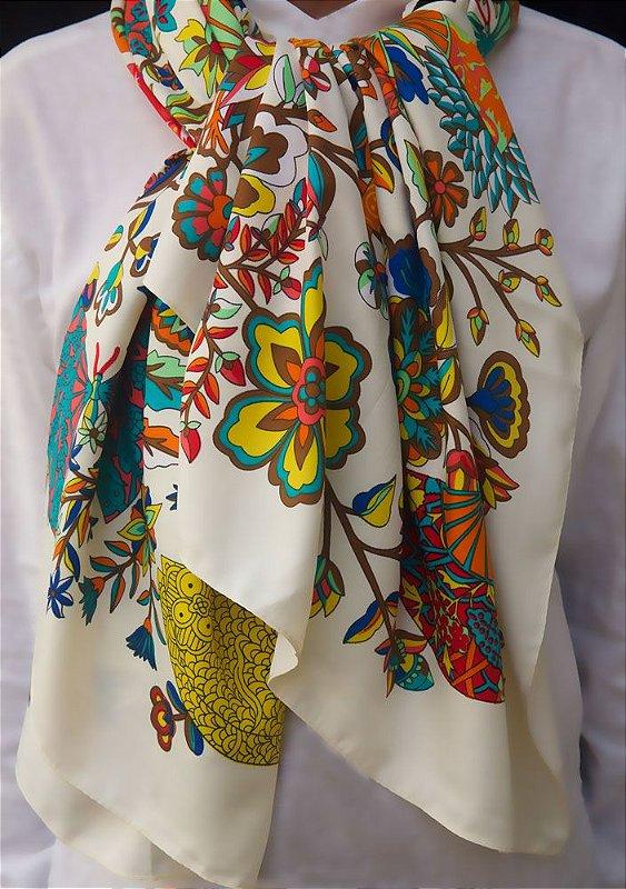 Lenço  100% seda estampa colorida
