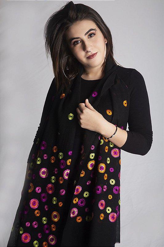 Pashmina 100% Lã da Kashmira Bordado Artesanal com Círculos Coloridos