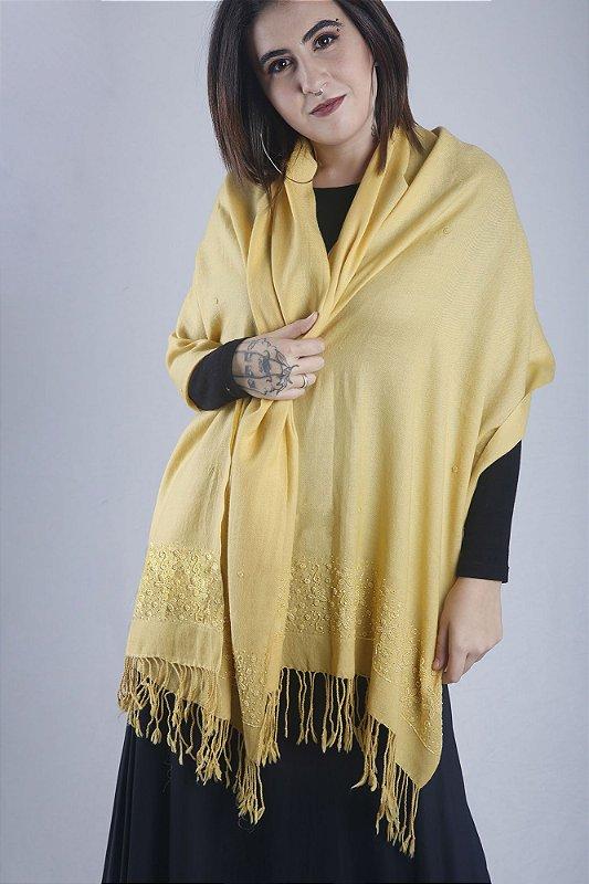 Pashmina 100%  lã da Kashmira Amarela bordada com beads