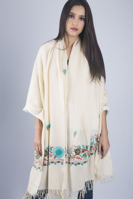 Pashmina off white  100% lã da Kashmira bordado Jaldar