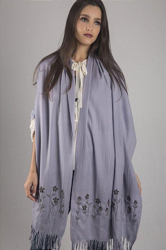 Pashmina Cinza Azulada 100% Lã da Kashmira Bordada com Canutilho.