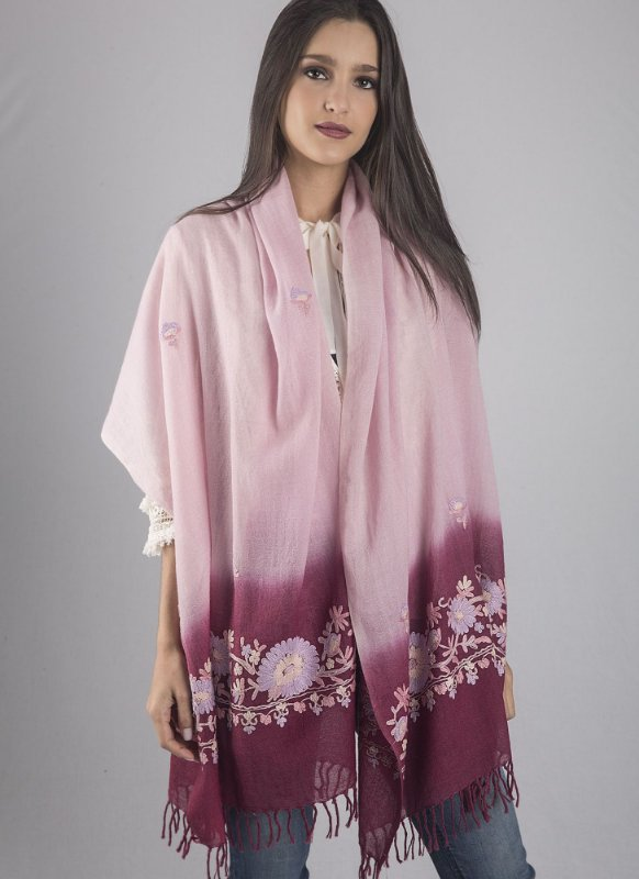Pashmina rosa 100% lã da Kashmira bordado Jaldar